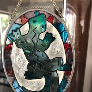 """Small 6-7"""" stained glass gecko lizard"""